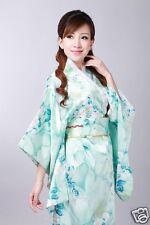 Vintage Yukata Japanese Kimono Floral Robe Gown Costume Haori Dress with Obi