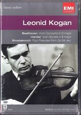 DVD Leonid KOGAN: BEETHOVEN Violin Concerto SHOSTAKOVICH Preludes HANDEL LECLAIR