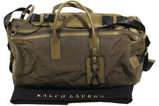 NWT RALPH LAUREN GREEN NYLON LEATHER DUFFEL LUGGAGE WEEKENDER TRAVEL BAG $595