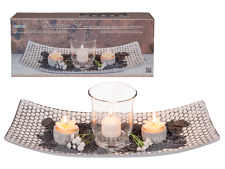 Wooden Shabby Chic Plate with Candle/Flower Tealight Gift Set (Boxed)