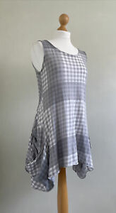 RUNDHOLZ Quirky Black Label Grey/white Checked Cotton Tunic With Deep Pockets S