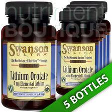 Lithium Orotate 5 mg Elemental Lithium 5X60 Veg Caps by Swanson Ultra