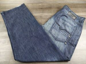 ECKO UNLIMITED MENS BAGGY FIT BLUE DARK LOOSE DENIM PANTS SIZE 38x32