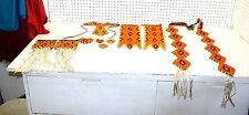 MATCHING 10 PIECE HAND CRAFTED ORANGE BEADED NATIVE AMERICAN INDIAN DANCE SET!!!