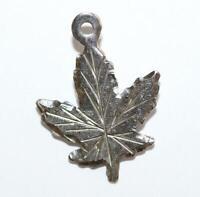 Canada Maple Leaf Sterling Silver Vintage Bracelet Charm Pendant by BMCO