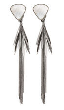 CLIP ON EARRINGS - silver drop earring with linked strands - Darby