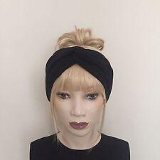 Black wool mix winter knitted headband boho hipster warm trendy knit hair band