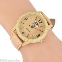 LP Damen Herren Uhr Armbanduhr Analog Quarzuhr Holz Natur Lederband Retro 24cm