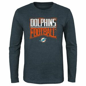 Outerstuff NFL Youth Miami Dolphins Energy Long Sleeve Tee, Charcoal