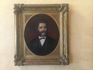 19thC Antique American Portrait Oil Painting Gentleman Man Original Gilt Frame