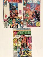 MICRONAUTS Marvel Comics Mixed Lot Of 3 Comic Books 1980's 1 57 34