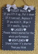 Handcrafted Wooden Bathroom Sign TOILET RULES LADIES/GENTLEMEN (White on Grey)