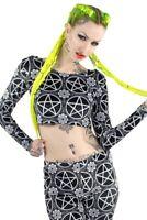 Ladies Killstar Pentagram Crop Top Velvet Nwt M Alternative Gothic Occult Black