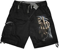 Spiral Direct BONE FINGER Vintage Cargo Shorts Black/Skull/Goth/Tattoo/Skeleton