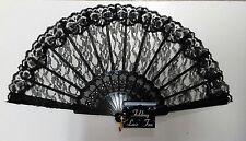 "Folding Black Lace Fan 9"" Accessory Flamenco Flapper Senorita Burlesque Geisha"