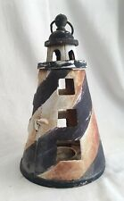 Nautical Lighthouse Candle Holder Cast Iron W/ Hook Indoor/Outdoor Rustic Décor