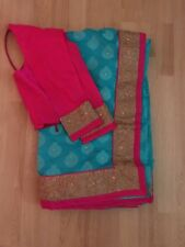 Pink And Turquoise Saree Brand New With Stitched Blouse
