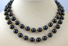 "Black Onyx Necklace 20"" Smooth Beads w/ 14kt Gold Filled Clasp & Beads --  8mm"