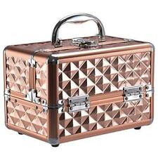 Rose Gold Cosmetic Box Vanity Lockable Beauty Makeup Nail Jeweller Portable Case
