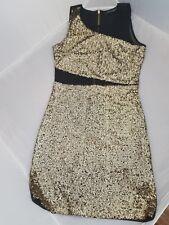 Womens Black Cocktail Party Gold Sequins Clubwear Mini Black Dress Size UK8 Eu36