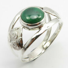 Natural Green Round Malachite HAMMERED Ring Size 11.75 925 Solid Sterling Silver