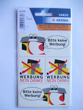 4 Sticker Bitte keine Werbung wetterfest Werbung nein Danke Briefkasten Reklame