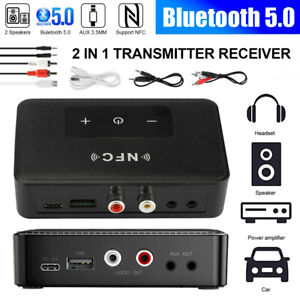 Bluetooth 5.0 Receiver Transmitter Wireless 3.5mm AUX NFC to 2 RCA Audio Adapter