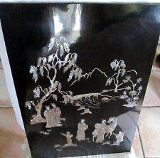 TABLEAU DECORATION BOIS LAQUE SCENE D ANTAN  NACRE CHINESE FRAME WOOD