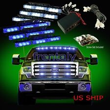 54 LED Car Truck Strobe Emergency Warning Light for Deck Dash Grill White Blue