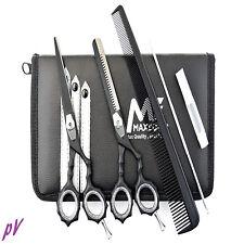 Forbici Per Parrucchiere Salone Barbiere Sottili SET KIT NERO OPACO 14cm