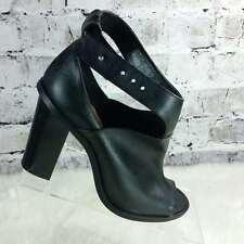 Crown Vintage black leather cage block peep toe heels shoes eur40 9 $120