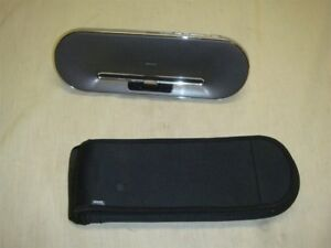PHILIPS DS7550 SILVER IPOD IPHONE SPEAKER DOCK WITH TRAVEL CASE -READ!