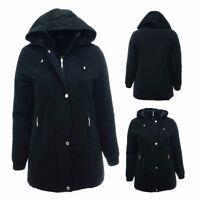 New 10 - 28 Black Long Jacket Hood Coat Warm Lined Ladies Plus Size Parka *LICK*
