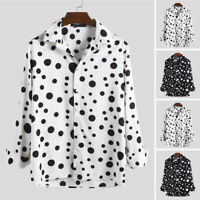 Men's Polka Dot Long Sleeve Button Down Shirt Slim Fit Party Shirt Blouse Tops