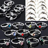 Wholesale Lots Mixed 50pcs Colorful Rhinestone Silver Tone Women/Girl's Rings