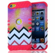 For iPod Touch 5th / 6th Gen - Hybrid High Impact Case Coral Pink Cosmic Chevron