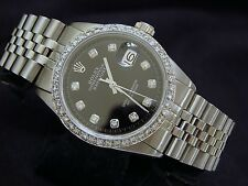 Rolex Datejust Mens Stainless Steel Black Diamond Dial & 1ct Diamond Bezel Watch