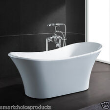 "Bathroom 71"" Luxury White Acrylic Bathtub Overflow & Chrome Tub Filler Faucet"