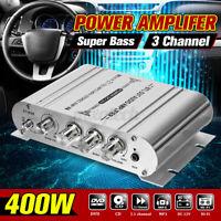 400W Amplifier 3 channel super bass HiFi Stereo Home Audio Car 12V Mini Power