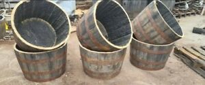 Large Genuine Half Whisky Barrel Planter 90 Litres Oak Whiskey Plant Table Chair