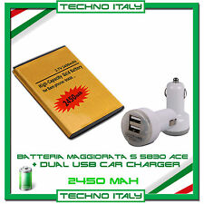 Batteria Maggiorata GOLD SAMSUNG  S5830 ACE GIO 2450mAh +CARICABATTERIE AUTO USB