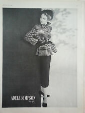 1948 Adele Simpson New York Womens Suit Hat Veil Fashion Original Ad