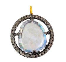 New Moonstone Pendant 14k Gold Pave Diamond 925 Sterling Silver Gemstone Jewelry
