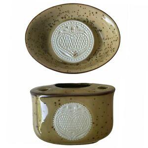 Vintage Japan Bath Accessories Stoneware Soap Dish & Matching Toothbrush Holder