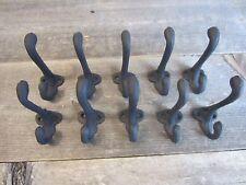 10 Cast Iron Black School Style Coat Hooks Hat Hook Hall Tree Restoration 3 1/4