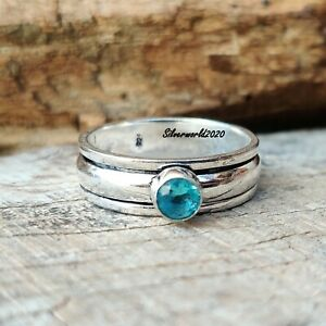 Blue Topaz Spinner Ring 925 Sterling Silver Plated Handmade Ring Size 11 ss96
