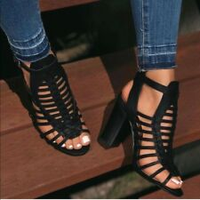 Ladies chunky heels caged ankle buckle sandals. size 5.5,6,6.5,7,7.5,8,8.5,9,10