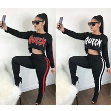 Womens long sleeves side striped print bodycon casual sports party jumpsuit 2pc