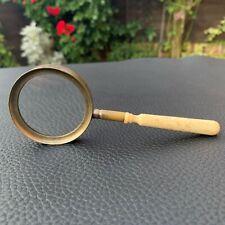 19th Century Antique Brass/Bronze Magnifying Glass Genuine Polished Bone Handle