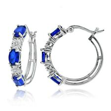 Sterling Silver Oval Created Blue Sapphire and Diamond Accent Hoop Earrings
